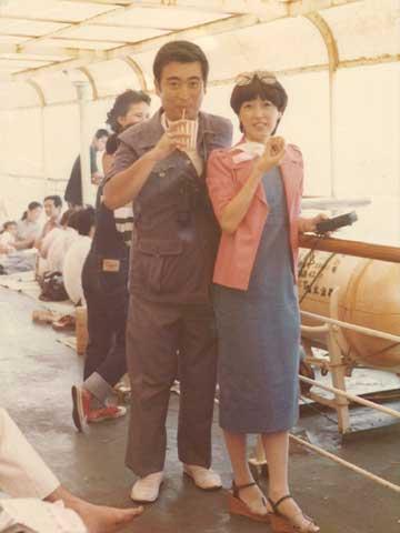 1974年 大島 船にて